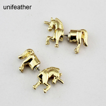 unifeather Hot Sale High Quality 1 pair Fashion Pony Stud Earring Unicorn Animal Earrings For Women Jewelry Gifts Drop Shipping(China)