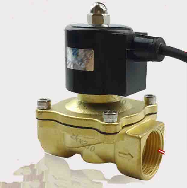 1/2 2W series waterproof coil air ,water,oil,gas  solenoid valve brass electromagnetic valve<br>