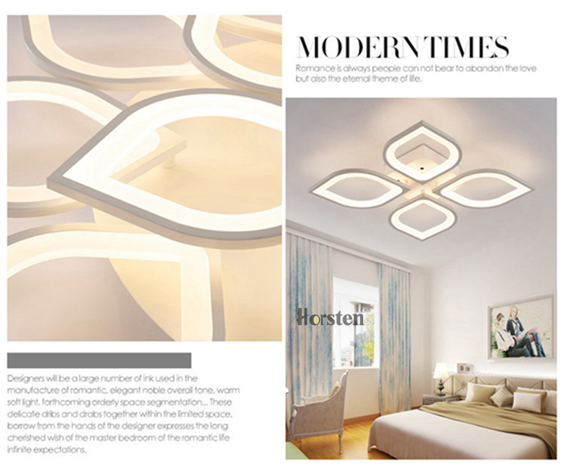 Horsten Remote Control Modern LED Ceiling Lights For Living Room Bedroom Acrylic Ceiling Lamps Flower Design Celing Lamp 90-260V (4)