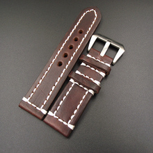 1PCS High quality 18MM 20MM 22MM 24MM genuine leather handmade Watch band watch strap - GL091502(China)
