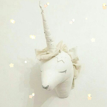 INS Unicorn Stuffed Toys Wall Mount Cute Animal Deer Head Wall Hanging Kids Room 3D Wall Decoration Halloween Christmas Gifts