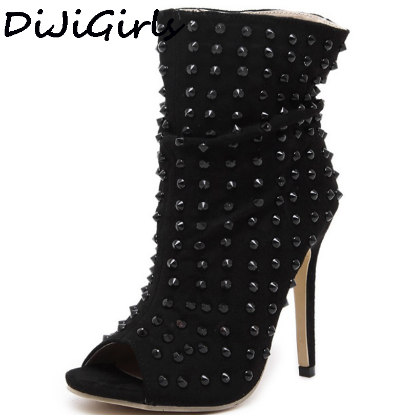 Punk Rock Hedgehog Gladiator shoes Rivets Summer Ankle  Boots Womens Peep Open Toe High Top Sandals High Heel Pumps Clubwear<br>