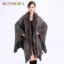 [RUNMEIFA] 2017 women autumn and winter fashion style Loose imitation fox fur Knit Cardigan Size shawl Cape Cloak coat(China)