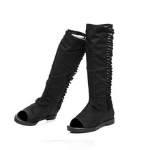 Fashion  Network Hollow Cool Summer Boots Women Boots Increased  Botas Femininas 2017 Flat Open Toe Tassel In-tube Boots Black