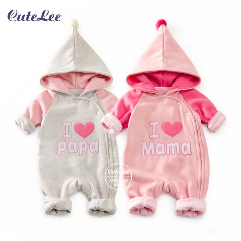 Cutelee Baby infant winter cotton romper zipper design hooded newborn baby girl boys romper clothes winter clothing baby costume<br><br>Aliexpress