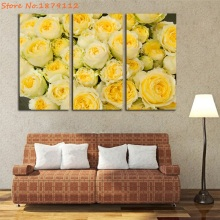 Promotion Yellow Roses Picture Prints Wall Decor Canvas 3 Pieces Modern Art For Living Room Modular Pictures Giclee Artwork(China)