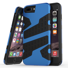 For iPhone6 6S 6Plus 6SPlus 7 7Plus 2in1 Grid Mesh Net Armor Hybrid Rugged Case Hard Plastic+TPU Layer Combo ShockProof Cover