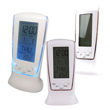 Multi-function Clocks Digital LCD Alarm Clock Calendar Thermometer  Date Time Display Clock Blue LED Backlight Alarm Clock