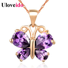15% Off Necklace Silver New White/Purple Fashion Jewelry Butterfly Pendants Necklaces for Women Accessories Gifts Uloveido N795(China)
