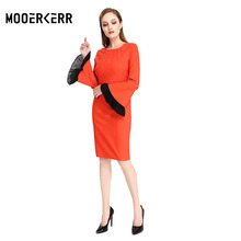 2017 New Women Dress O-neck Solid Flare SLeeve Natural Waistline Sheath Dress Casual Sexy&Club Dress(China)