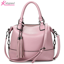 Famous Brands 2017 Women Pink Totes Bag High Quality Leather Women's Messenger Shoulder Bags Tassel Handbags Fashion Lady Bag