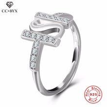 CC Schmuck 100% 925 Sterling Silber Schmuck Einstellbare Ringe Für Frauen  Fashion Verlobung Hochzeit Band Brief Name Ring CC533 2629f3c92d