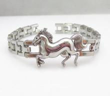Free Shipping Box-with-tongue Alloy fashion man anti-fatigue horse Bracelet Wholesale Silver New Jewelry