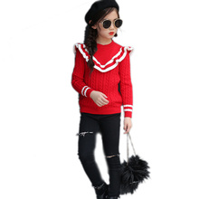 Autumn and winter ruffle collar patchwork girls' sweaters children clothing children sweaters kids tops girls sweaters pullover