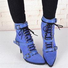 New Brand Boots Women Shoes High Heel Sexy Lace up Ankle Boots Pointed Toe Shoes Woman Fashion Ziper Botas Mujer Thin Heel Boots