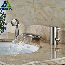 Deck Mount Widespread Curved Waterfall Spout Bathtub Faucet Set Single Handle with Hand Shower Tub Filler(China)
