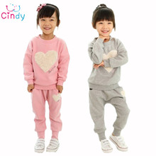2015 love clothing kids girls clothes sets,baby girl long sleeve + pant set Children love sports kids clothing sets