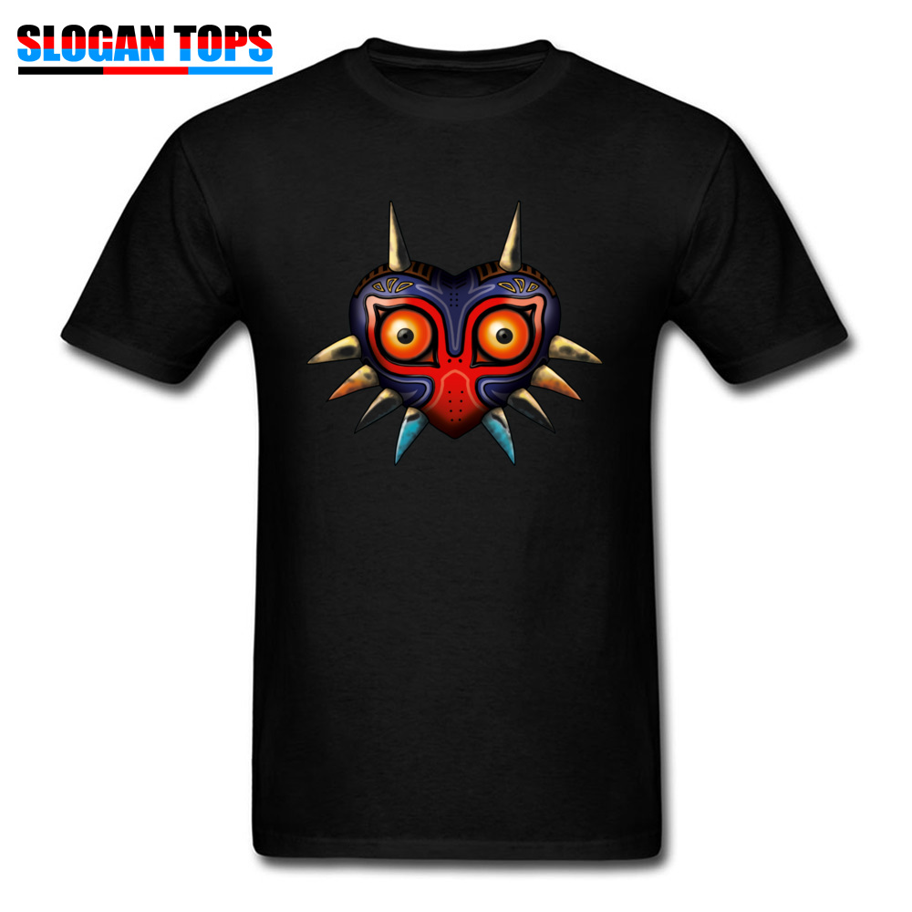 Hip hop Majoras Mask Zelda 17572 Male Tshirts 2018 Popular Summer Fall Short Sleeve Tops Shirts Crewneck 100% Cotton T-Shirt Majoras Mask Zelda 17572 black