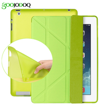 Case for iPad 2 3 4 Mini 4 3 2 1 Silicone Soft Back Case,Multi-fold PU Leather Smart Cover Coque Auto Wake for Apple iPad Mini 4