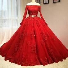 Buy New Arrival 2017 Red Wedding Dresses Ball Gown Long Sleeves Wedding Dress Beading Applique Lace Country Bridal Gowns Casamento for $189.28 in AliExpress store