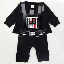Baby Boy Darth Vader Costume Romper Infant Star War Jumpsuit Toddler Clothes Set With Cape Clothing New Year Costume For Newborn(China)
