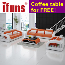 IFUNS minimalist modern living room furniture,simple floor sofa set,best top grain real leather sectional sofas(China)