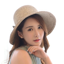 Hot Sell !Latest Style women sun hat Summer/outdoor/sun-resistant cream coloured Big Bowknot floppy straw hat/lady hat/beach hat(China)