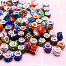 New 20Pcs Lot Mixed Colorful Big Hole CZ Rhinestone Crystal Glass Beads Fit DIY Pandora Charms Bracelet For DIY Jewelry Making(China)