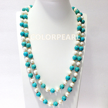 125CM Long 8-10mm Turquoise And White Real Freshwater Pearl With14K Gold Plated Bead Sweater Necklace. Best Jewelry For Girls!