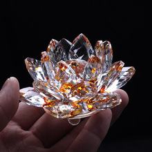 85mm Yellow Crystal Glass Lotus Flower natural stones and minerals Feng Shui Crystals Products For Home wedding Decor crafts(China)