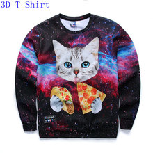 New 2017 Autumn Women/Men 3D Sweatshirt Printed Animal Cat Kitty Eat Pizza Galaxy Hoodies Casual Pullover Moleton Crewneck Tops