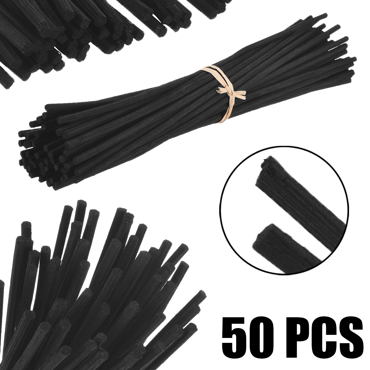 50Pcs Black Fragrance Stick Oil Diffuser Premium Rattan Reed Replacement Stick For Home Decor Set