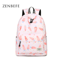 ZENBEFE Carrot Pattern Printing Backpacks Cute Backpack For Girls Pink Backpack For School Bag Small Bag For Teenagers Bookbags