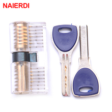 NAIERDI Crescent Transparent Copper Lock Training Skill Visible Practice Padlocks For Locksmith Supplies Furniture Hardware(China)