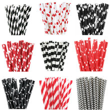 25pcs Black Red Paper Straws Design Straws for birthday wedding decorative party event Drinking Straws supplies(China)