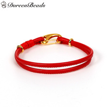 "DoreenBeads PU Leather European Style Double Layer Charm Bracelets Red Cord gold color Clasp 19.5cm(7 5/8"") long, 2 PCs(China)"