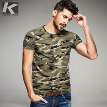 KUEGOU Summer Mens Fashion T Shirts Camouflage Army Green Brand Clothing For Man's Wear Short Sleeve Slim T-Shirts Tops Tee 1192(China)