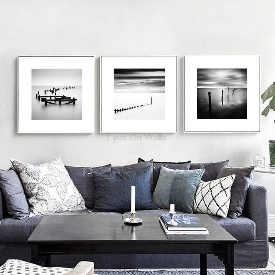 Detail feedback questions about black and white photography seascape canvas painting nordic art posters prints wall pictures modern home decor 3 pieces