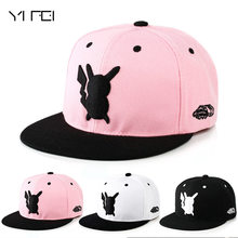 YIFEI 2017 Pokemon Go Parent-child Baseball Cap Adult Cartoon Lovely Pikachu Snapback Hip Hop Embroidery Hat For Man Woman(China)