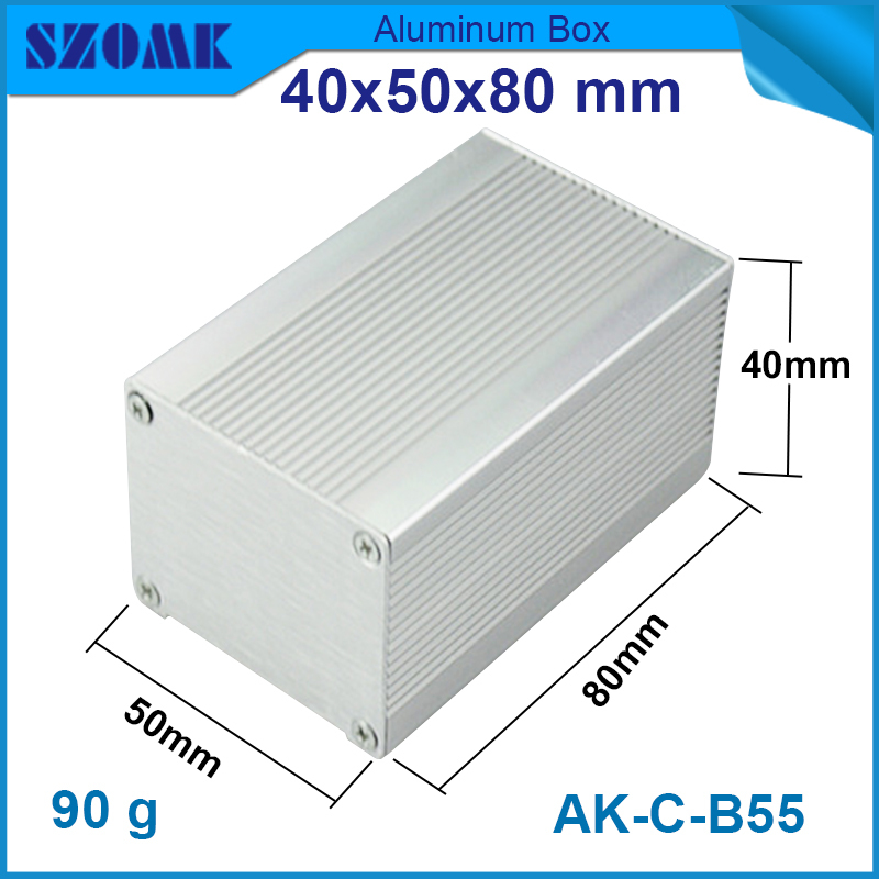 1 piece 40(H)x50W)x80L) mm aluminum elecronic  box in silver color for pcb box can be cut length<br><br>Aliexpress