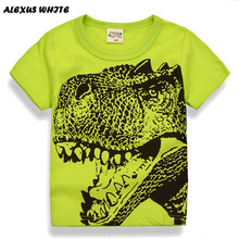 Cartoon Dinosaur T Shirt Boys 2017 Summer Children's Clothing Toddler 100% cotton Tops tee baby Boy Kids bobo bebe T-shirt 2-7Y(China)