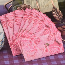 New design Creative gifts small napkin paper toilet tissue printed pink rose handkerchief wedding serviette birthday party mats(China)