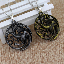 Game Of Thrones Daenerys Targaryen Three Headed Dragon Pendant Alloy Necklace Gift For Fans Movie Jewelry Free Shipping