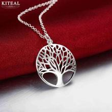 Wholesale Silver Tree Of Life 18inch Pendant Necklace Best gift girl women wedding love anillo arbol de la vida(China)