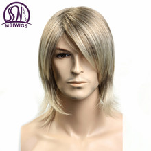 MSIWIGS Short Wavy Mens Wigs Heat Resistant Japanese Fiber Blonde Ombre Male Synthetic Wig with Bangs(China)