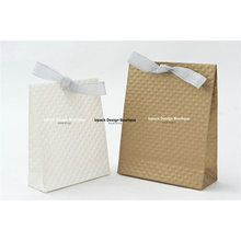Wholesale 12pcs French Style Art Paper Gift Bag with Silver Foil Ribbon(China)