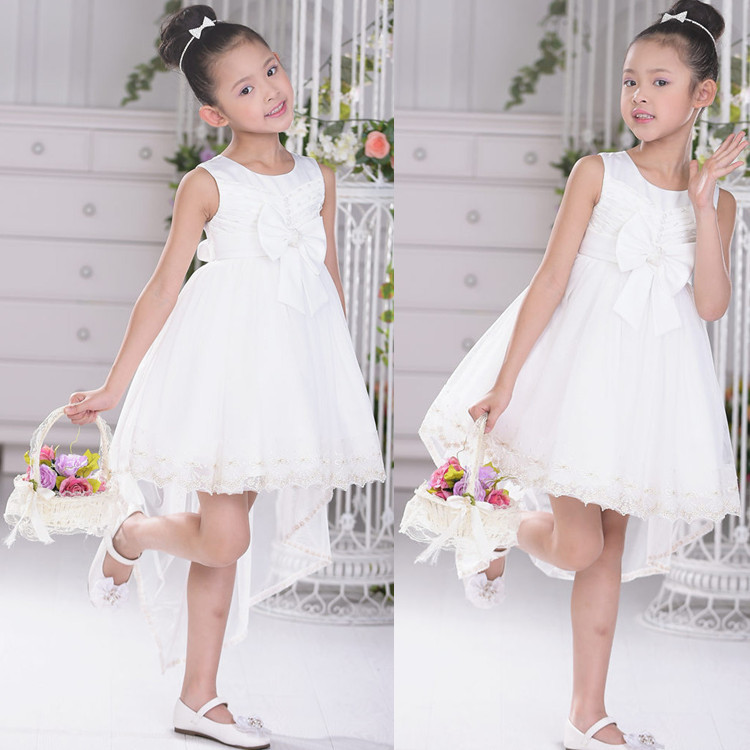 2015 new girls wedding party mermaid dress children sleeveless O-neck bow Princess dresses white flowr girl dress free shipping<br>