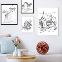 Modern Gift Canvas Painting Impressive Sketch Building Poster Wall Art Picture Home Decor Drawing(China)