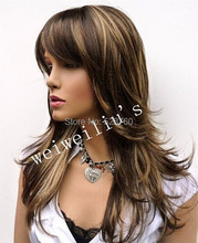 Classic Silky Layered Long Wig Dark Brown Blonde Mix  Free shipping
