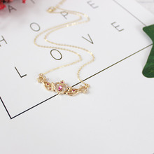 Free shipping fashion woman new jewelry Exquisite synthetic gem angel wings girl necklace lady clavicle chain accessories(China)